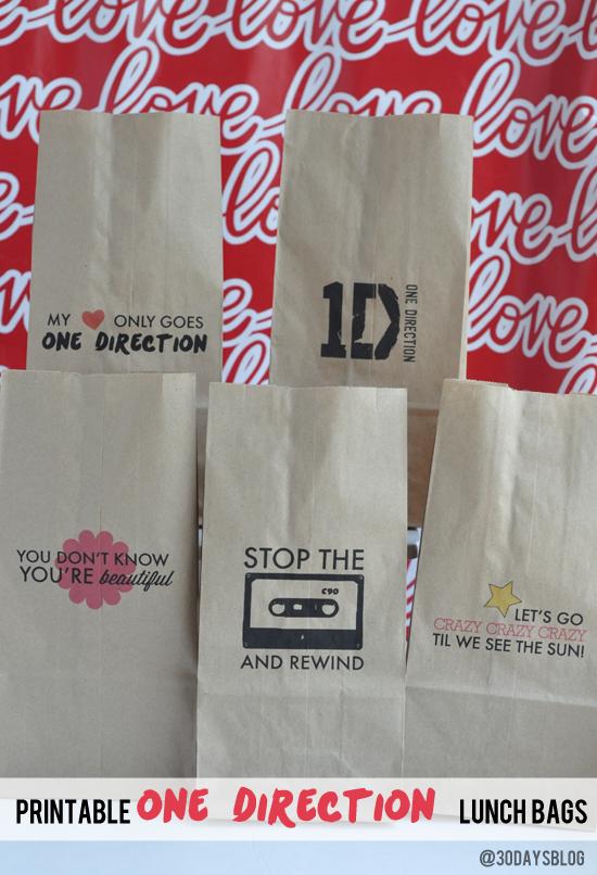 One Direction Printable Lunch Bags www.thirtyhandmadedays.com