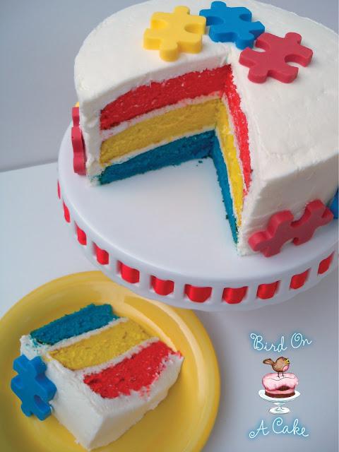 Autism Puzzle Piece Cake Bird on a Cake via www.thirtyhandmadedays.com