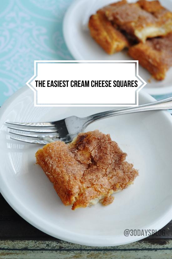 the Easiest Cream Cheese Squares Dessert www.thirtyhandmadedays.com