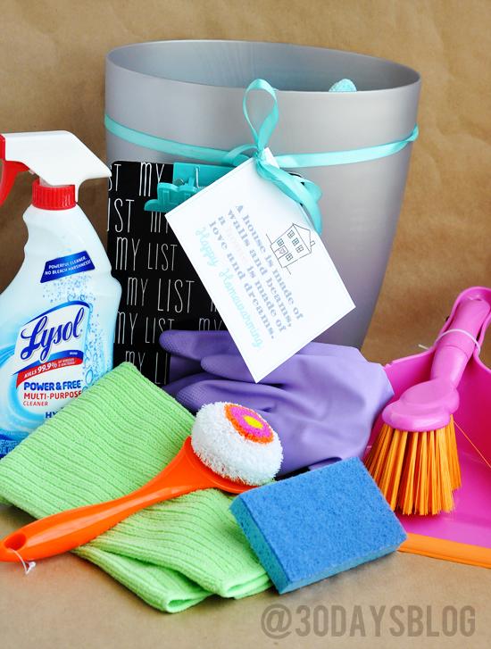 Housewarming bucket gift supplies www.thirtyhandmadedays.com