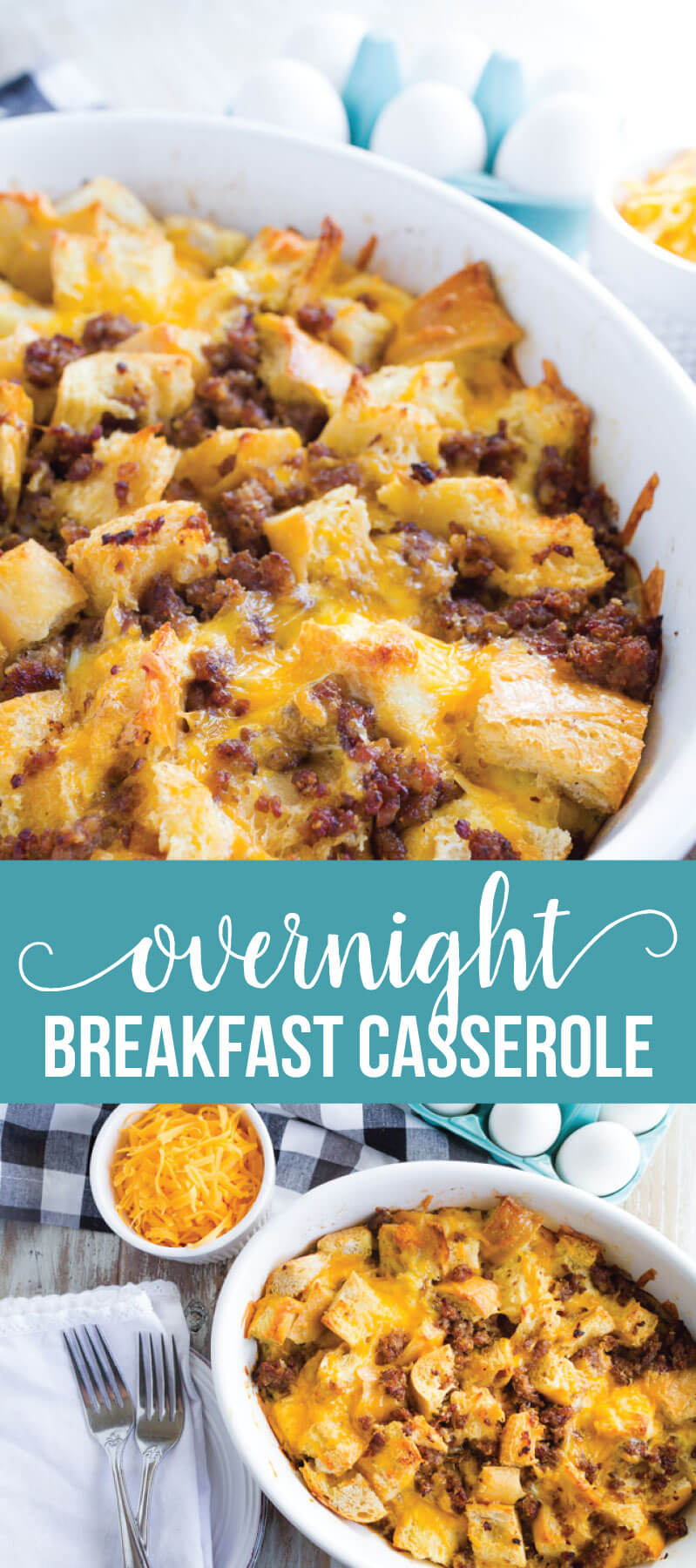 Overnight Breakfast Casserole - make this breakfast recipe ahead of time and pop it in the oven on the morning of.  SO good!  www.thirtyhandmadedays.com