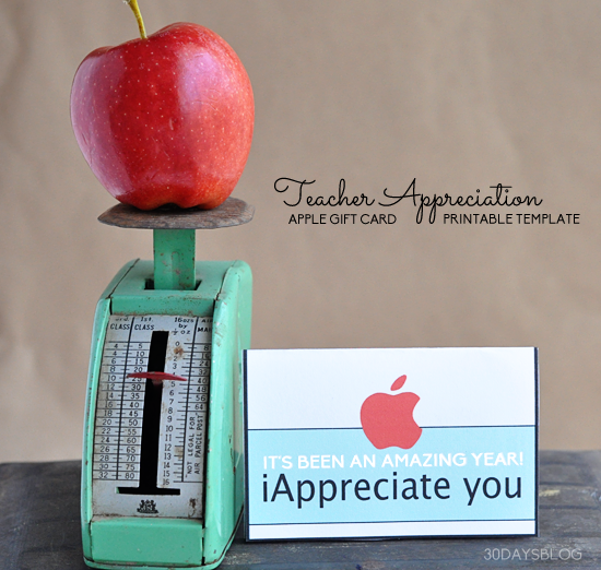 picture about Printable Itunes Gift Card identify Instructor Present Notion: Apple Present Card Printable Template