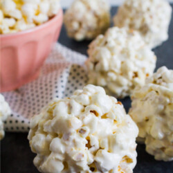 the Easiest Popcorn Balls Ever - you only need a few ingredients to make them! from thirtyhandmadedays.com