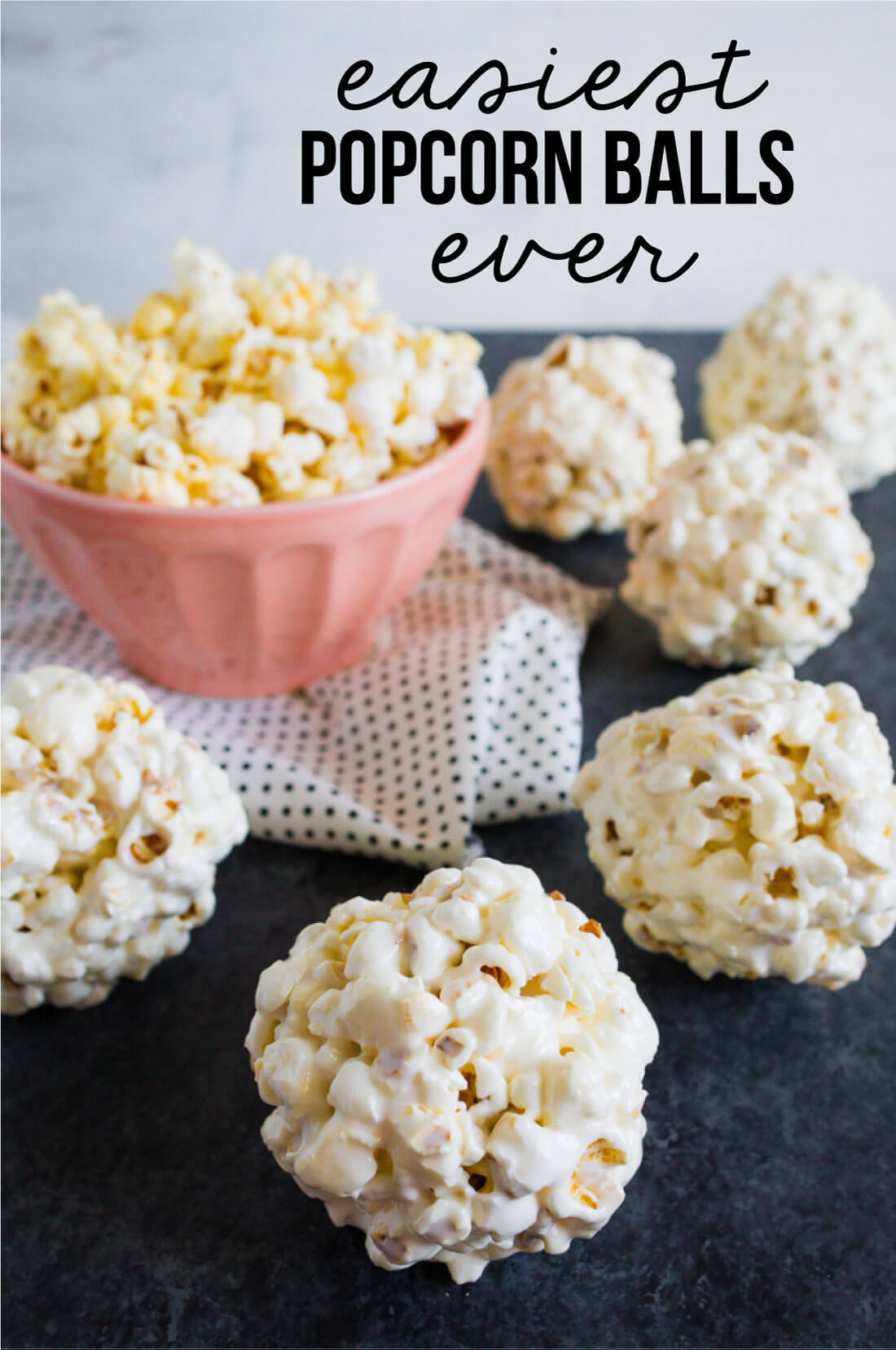 the Easiest Popcorn Balls Ever - you only need a few ingredients to make them! www.thirtyhandmadedays.com