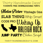 Free Fonts to Download www.thirtyhandmadedays.com