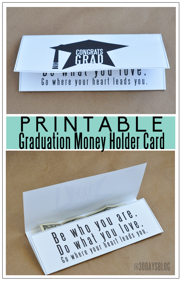 graphic relating to Printable Graduation Cards named Printable Funds Holder Commencement Playing cards