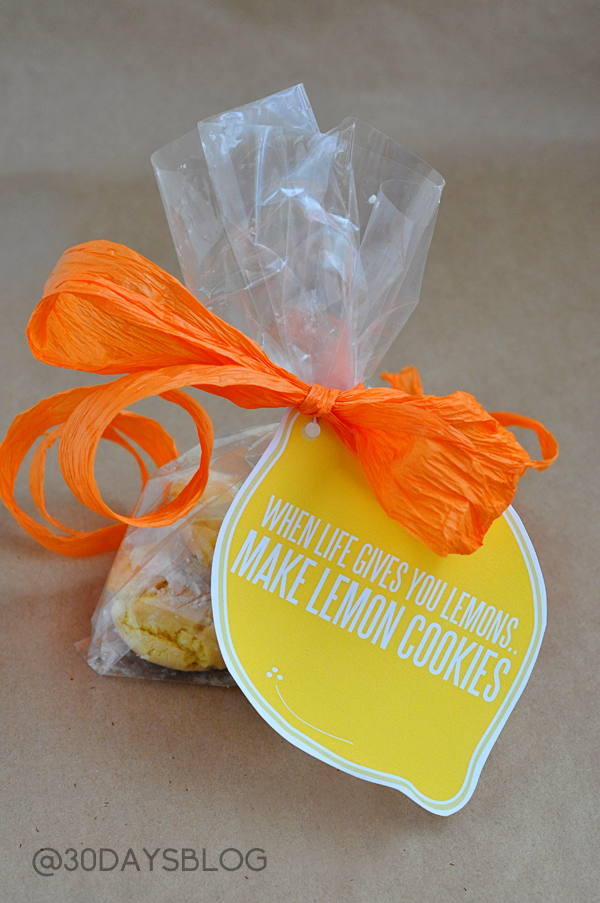 Lemon Cookies with Printable www.thirtyhandmadedays.com