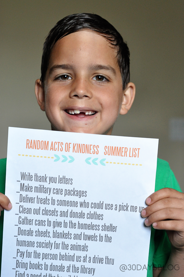 Random Acts of Kindness Summer List www.thirtyhandmadedays.com