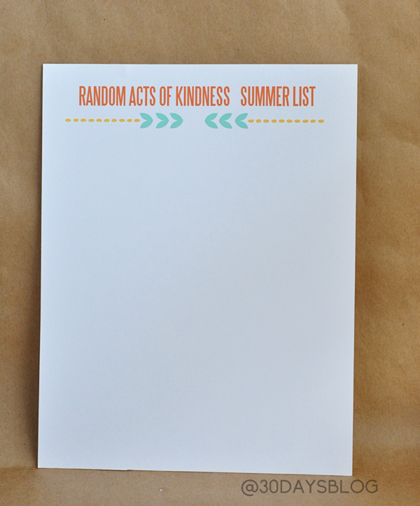 Random Acts of Kindness Summer List Printable www.thirtyhandmadedays.com