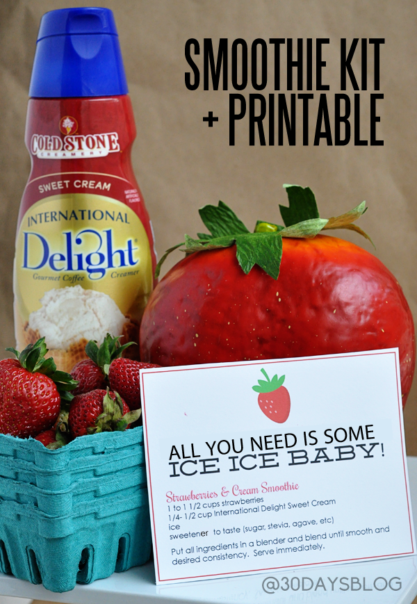 Strawberries and Cream Smoothie Kit + Printable www.thirtyhandmadedays.com