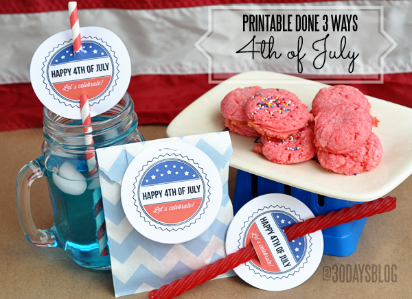 4th of July Printable done 3 ways from www.thirtyhandmadedays.com