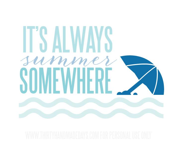 Always Summer Printable www.thirtyhandmadedays.com