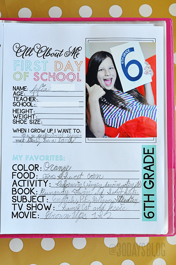 All About Me Printable for School Binder www.thirtyhandmadedays.com