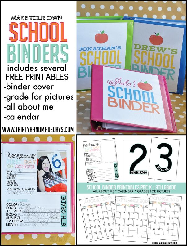 Make Your Own School Binder with several free printables www.thirtyhandmadedays.com