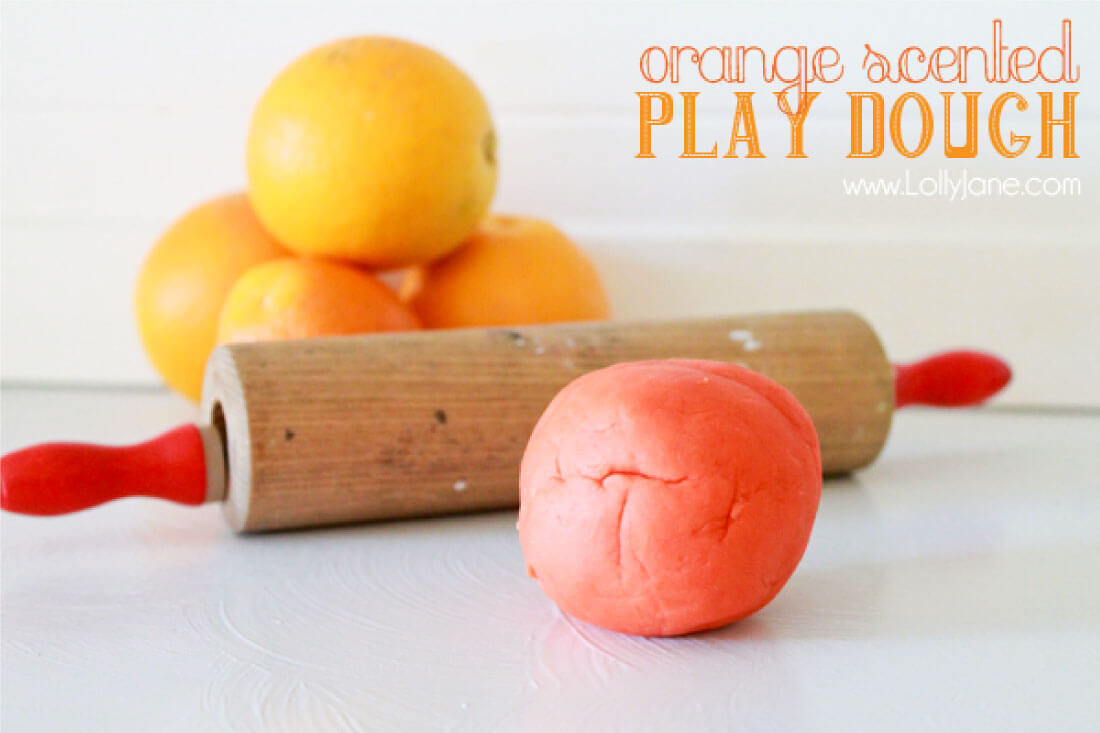 Orange Scented Playdough Recipe - make this easy recipe with your kids!