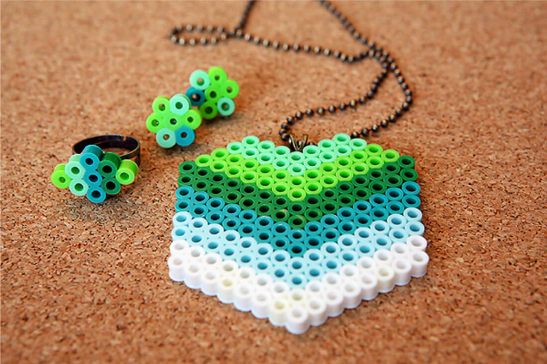 DIY Perler Beads Jewelry - learn how to make your own. Finished necklace.