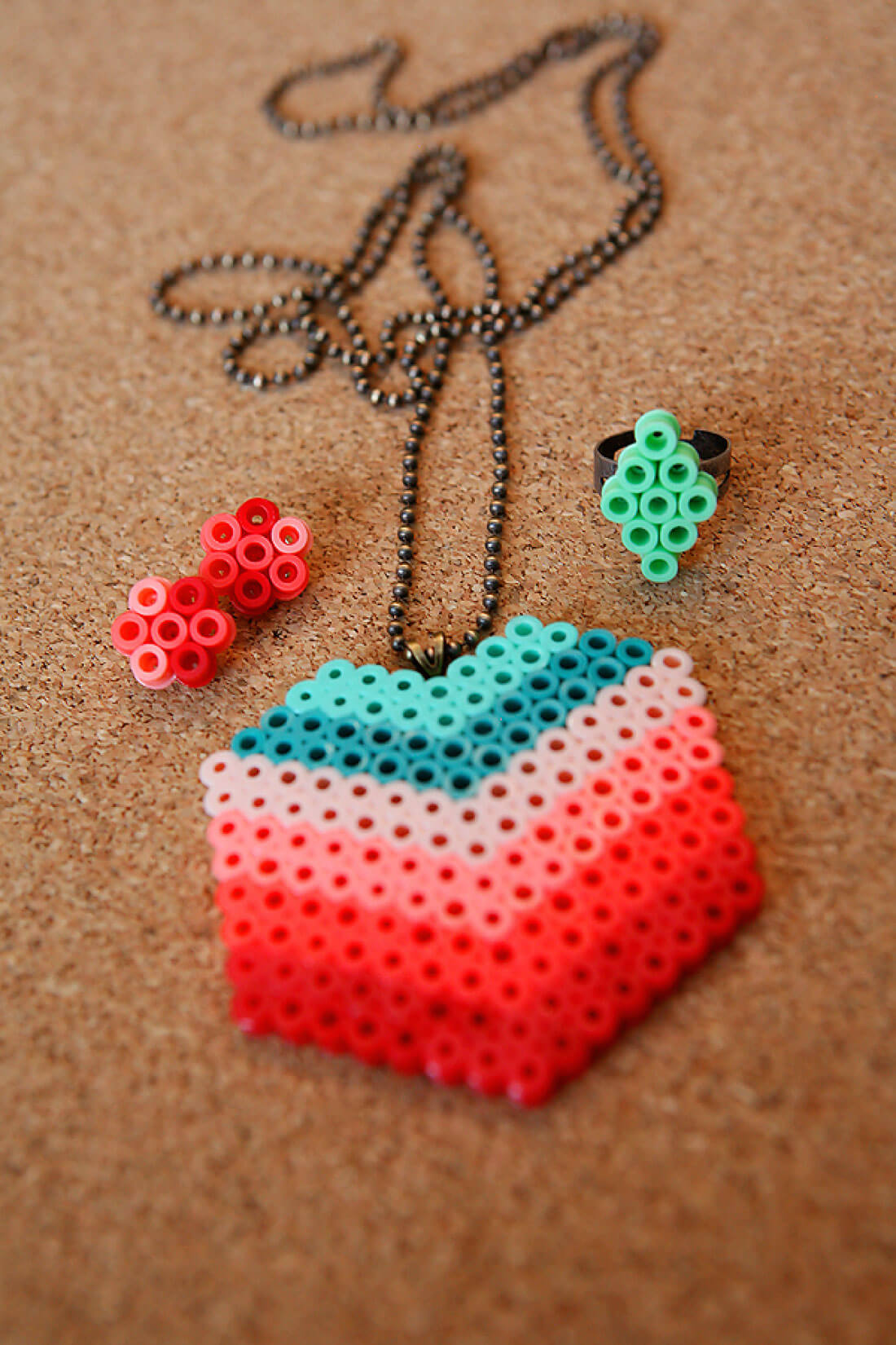 DIY Perler Beads Jewelry - learn how to make your own. Finished jewelry.