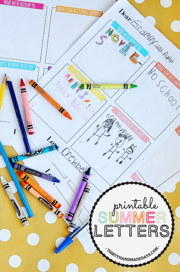 Kids #Printable Summer Letter www.thirtyhandmadedays.com