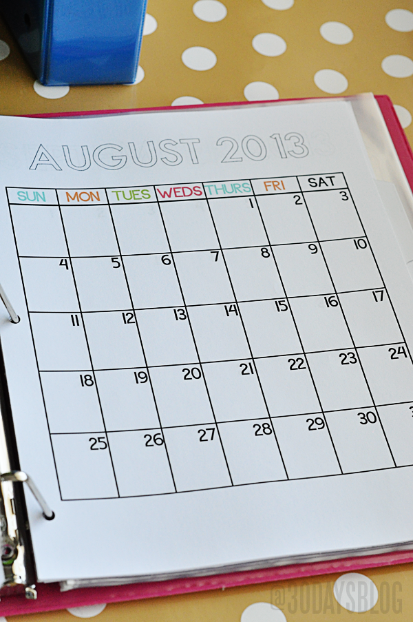 Calendar Binder Printables : School binder with printables