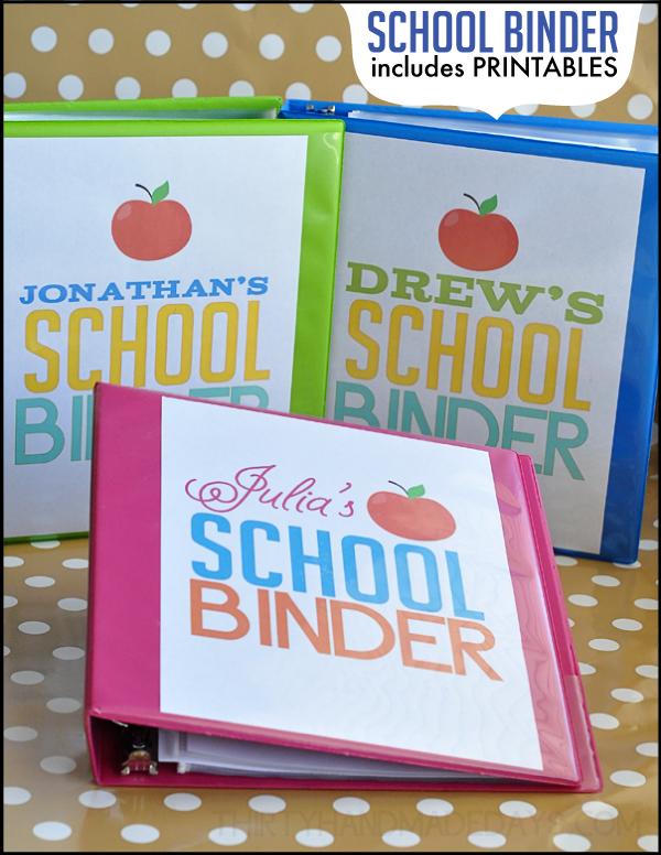 School Binder with printables from www.thirtyhandmadedays.com