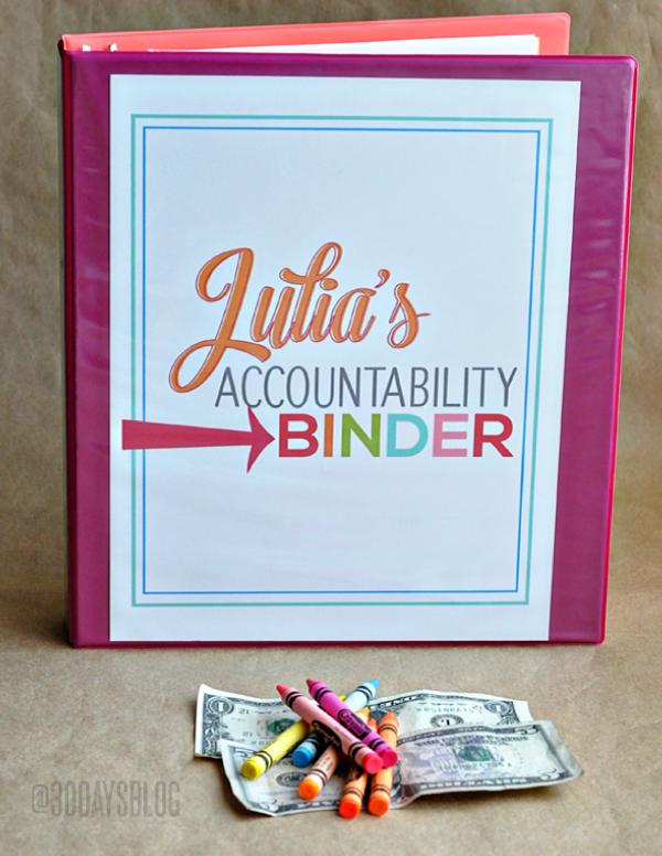 Organization Tips: Make an Accountability Binder for your kids www.thirtyhandmadedays.com