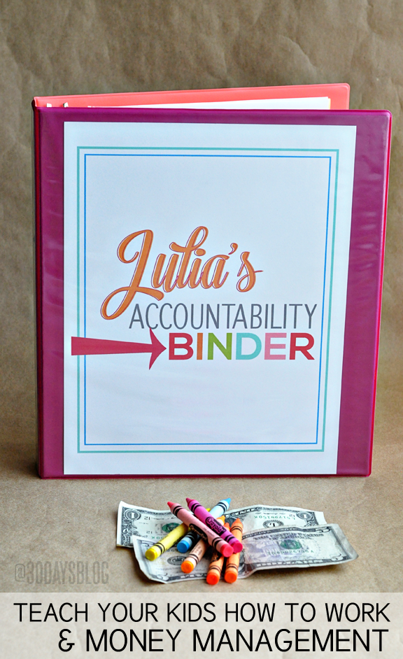 Organization Tips: Make an Accountability Binder for your kids to teach work and money management www.thirtyhandmadedays.com