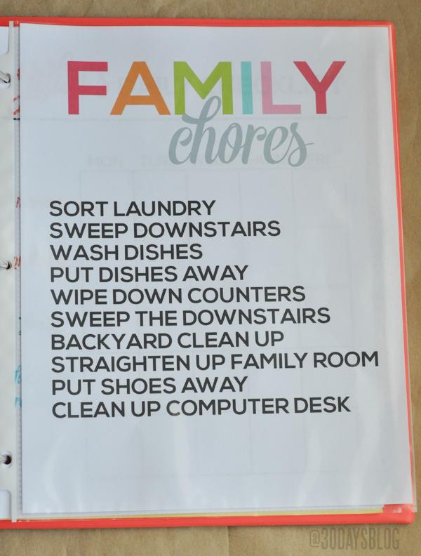 Family Chores www.thirtyhandmadedays.com
