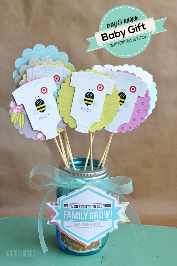 Unique but simple baby shower gift with printable from www thirtyhandmadedays com