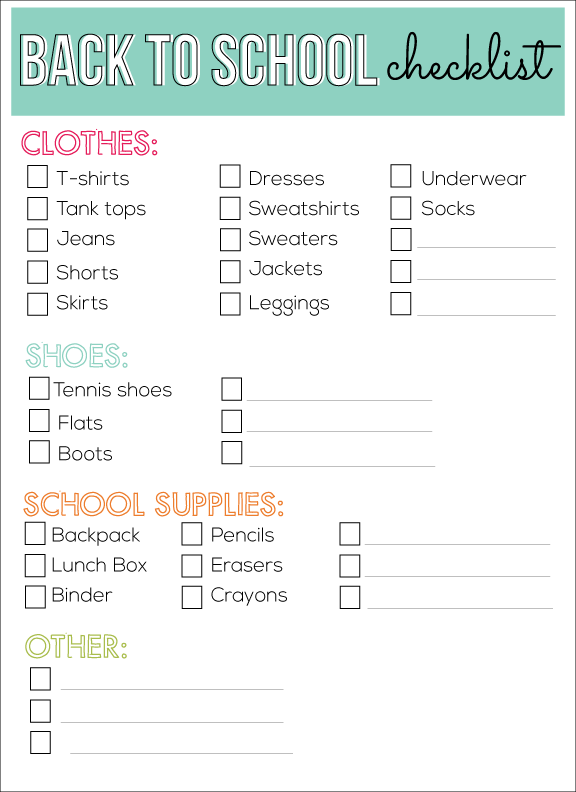 Back to school shopping checklist from www.thirtyhandmadedays.com