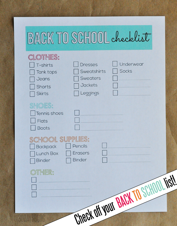 Back to School Printable Checklist www.thirtyhandmadedays.com