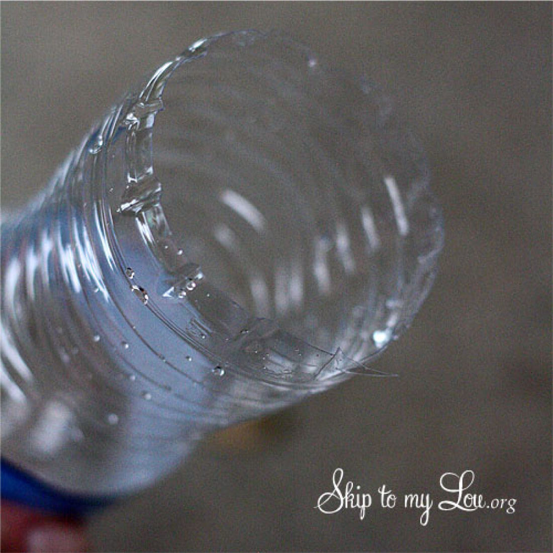 DIY Bubble Blower - Cut the bottom off of the empty water bottle.
