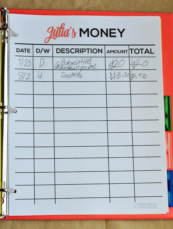 Money Sheet www.thirtyhandmadedays.com
