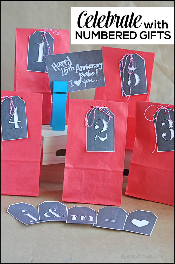 Creative Anniversary Gifts using Printable Chalkboard Numbers www.thirtyhandmadedays.com
