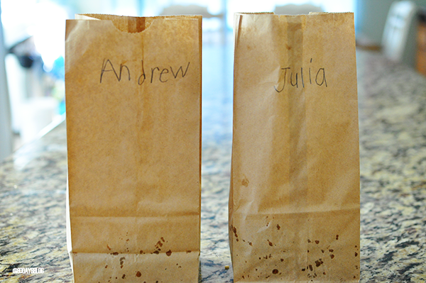 Bags for the movie- puppy chow www.thirtyhandmadedays.com