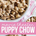 Movie Theater Puppy Chow - a yummy snack that you can use leftover Halloween candy on.