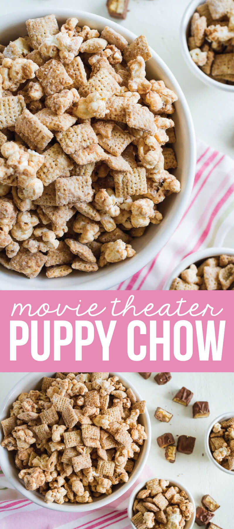 Movie Theater Puppy Chow - a yummy snack that you can use leftover Halloween candy on!