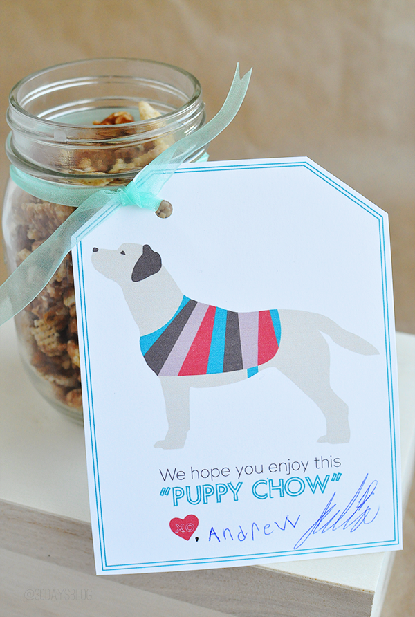 Movie Theater Puppy Chow with Snickers Printable www.thirtyhandmadedays.com
