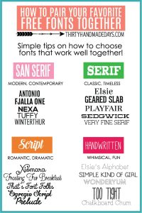 How to pair your favorite free fonts together from www.thirtyhandmadedays.com