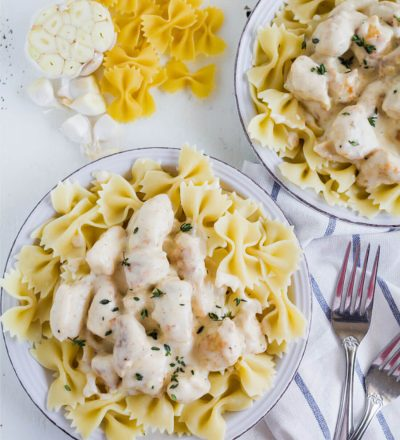 Rosemary Chicken Pasta – an easy main dish that has become a family favorite. thirtyhandmadedays.com