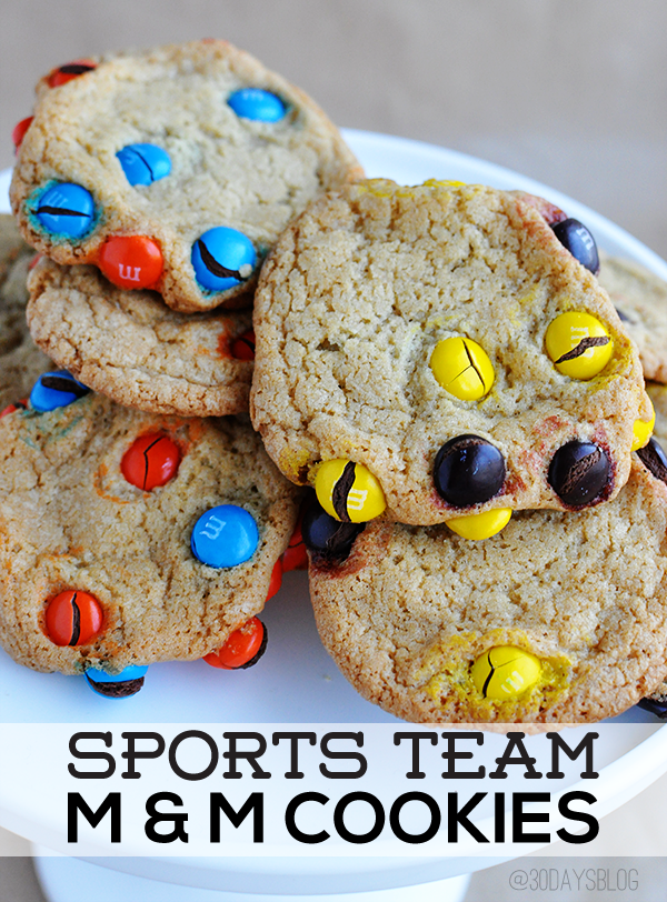 Sports Team M&M Cookies www.thirtyhandmadedays.com