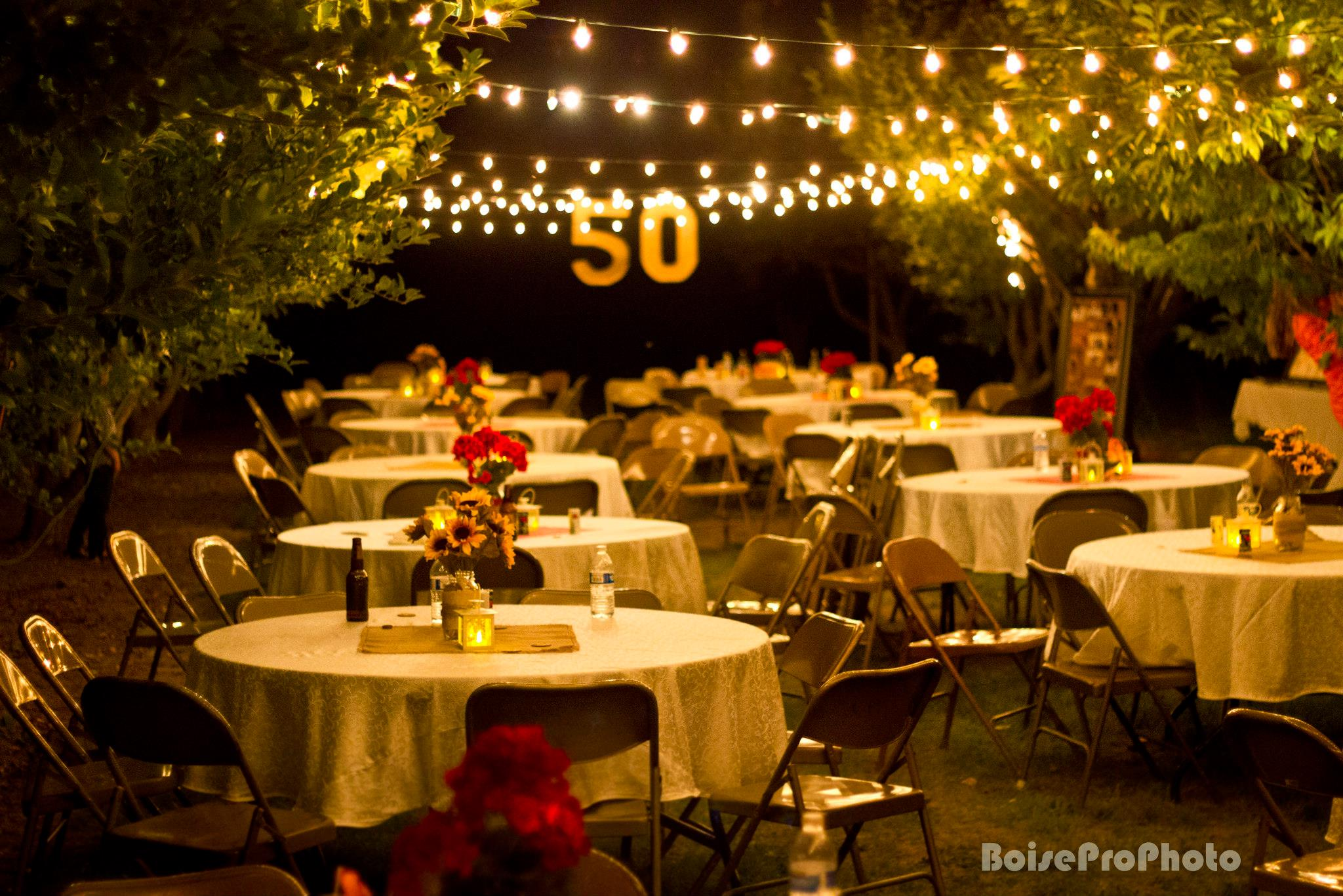 Diy 50th wedding anniversary party from salty bison for Anniversary decoration ideas home