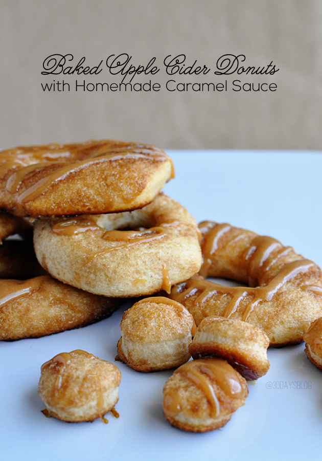 Baked Apple Cider Donuts with Caramel Sauce - make these easy baked donuts using canned biscuits and apple cider mix.  Top it with homemade caramel sauce! www.thirtyhandmadedays.com