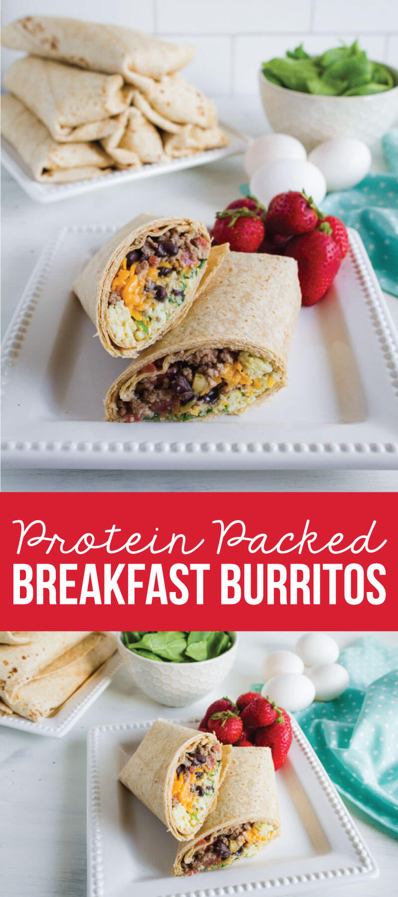 Protein Packed Breakfast Burritos - make these ahead to reheat throughout the week.  via www.thirtyhandmadedays.com