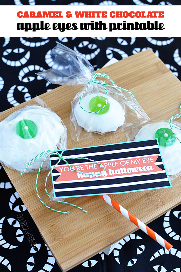 Halloween Treats: Caramel and White Chocolate Caramel Eyes with printable From @30daysblog www.thirtyhandmadedays.com