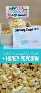 Make a yummy fall treat and prepare a gift for friends and family with thisFall Honeycomb Printable and Honey Popcorn via www.thirtyhandmadedays.com