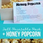 Make a yummy fall treat and prepare a gift for friends and family with this Fall Honeycomb Printable and Honey Popcorn via www.thirtyhandmadedays.com