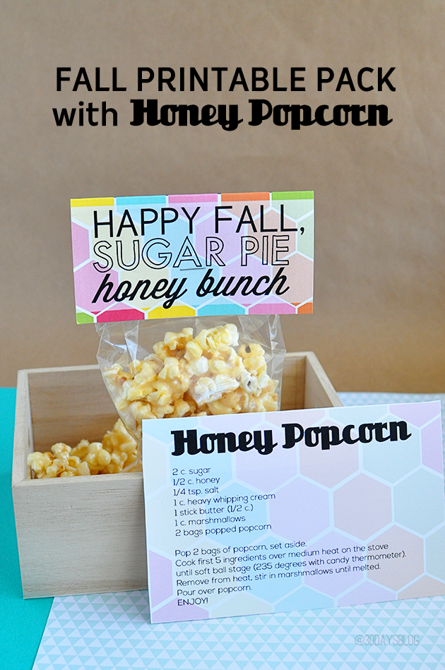 Super cute Fall Printable Pack with Honey Popcorn from www.thirtyhandmadedays.com