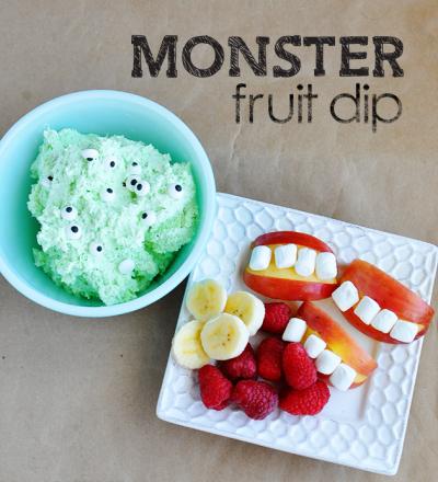 Monster Fruit Dip - fun idea for Halloween from www.thirtyhandmadedays.com