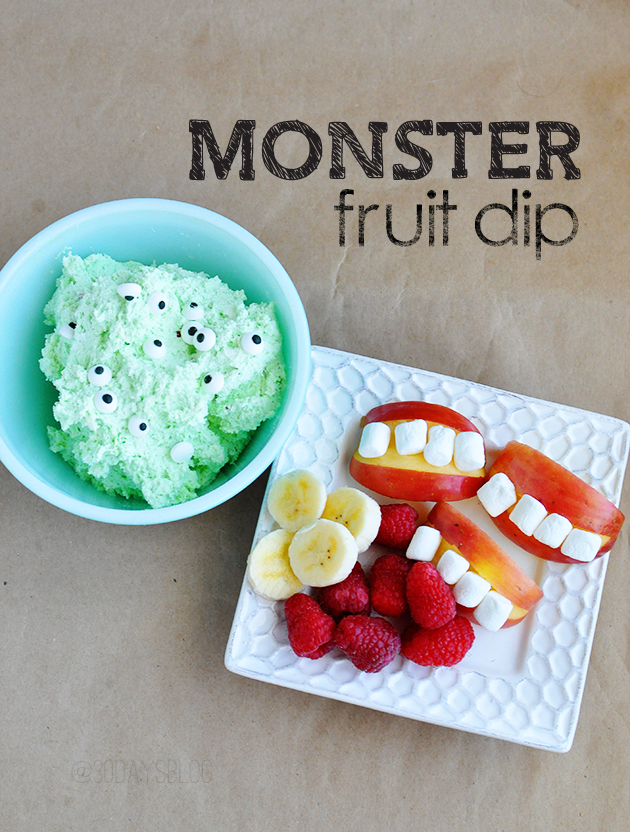 Monster Fruit Dip- fun kids snack that's perfect for Halloween from www.thirtyhandmadedays.com