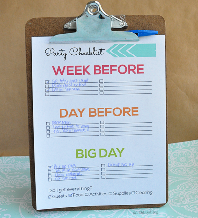 Printable Party Preparation Checklist - super cute and simple to fill out! @30daysblog